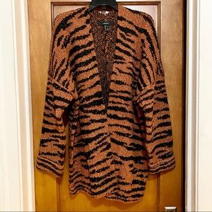 FOREVER 21 Long Tiger-Striped Cardigan